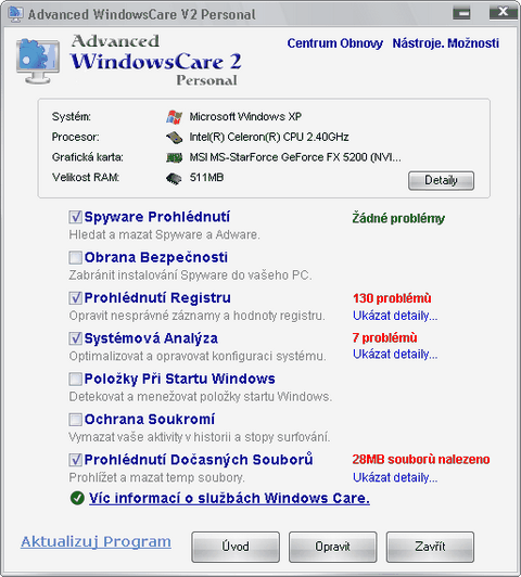 Optimalizácia a ochrana počítača - IObit Advanced WindowsCare.