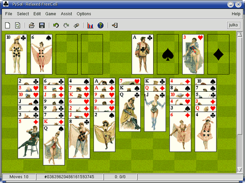 Relaxed FreeCell v Linuxe